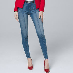 WHBM Mid-Rise Pintucked Skinny Ankle Jeans
